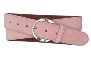 Velours Gürtel rosa mit schlichter Schnalle. Damen Gürtel aus Veloursleder rosa