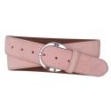 Velours Gürtel rosa mit runder Schnalle