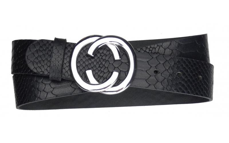 Damen Gürtel aus Snake Leder schwarz mit Schnalle CC