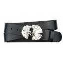 Damen Gürtel aus Leder schwarz mit Schnalle Ginkgo