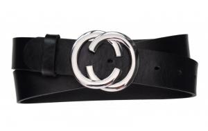 Damen Gürtel aus Leder schwarz mit Schnalle CC