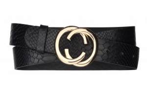 Damen Gürtel aus Snake Leder schwarz mit Schnalle CC gold
