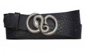 Damen Gürtel aus Snake Leder schwarz mit Schlangenschnalle