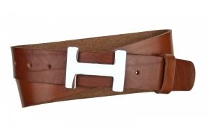 Damen Gürtel aus Leder braun mit H Schnalle
