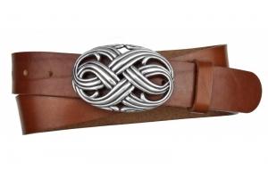 Damen Gürtel aus Leder braun mit ovaler Schnalle