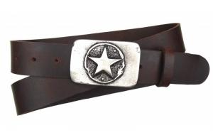 Jeansgürtel aus Büffelleder braun mit Schnalle Stern