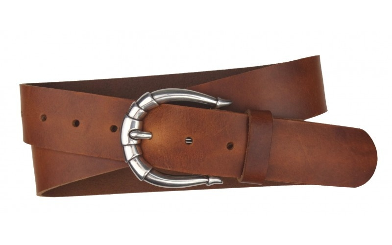 Jeansgürtel aus Leder braun mit Schnalle Hufeisen