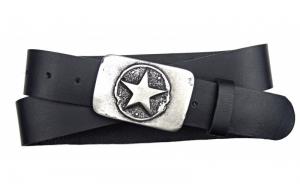 Jeansgürtel aus Büffelleder schwarz mit Schnalle Stern
