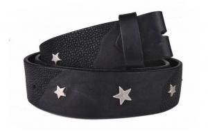 Wechselgürtel / Nietengürtel ohne Schnalle schwarz mit Sternen