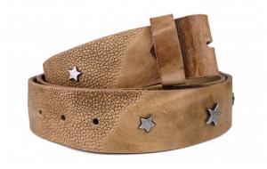 Wechselgürtel / Nietengürtel ohne Schnalle beige mit Sternen
