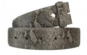 Wechselgürtel / Gürtel ohne Schnalle mit Schlangenmuster grau