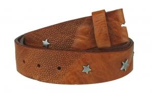 Wechselgürtel / Nietengürtel ohne Schnalle braun mit Sternen