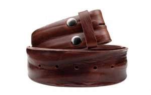 Breiter Gürtel 5cm ohne Schnalle aus Leder in Braun