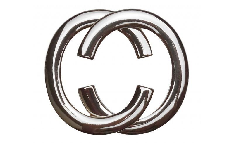 Gürtelschnalle CC Silber glänzend