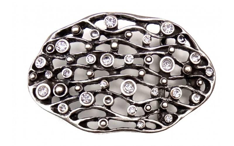 Ornamente rund mit Strass Steine Edle Damen G/ürtelschnalle in silber hochwertige Geschenk Idee Geburtstag Muttertag