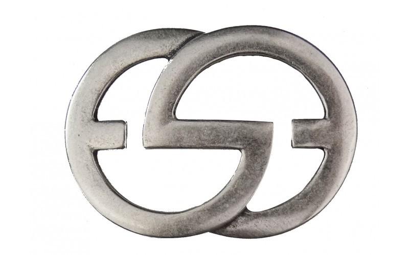 Gürtelschnalle 2G in alt silber