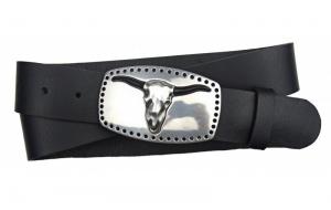 Westerngürtel aus Büffelleder schwarz mit Schnalle Büffelschädel
