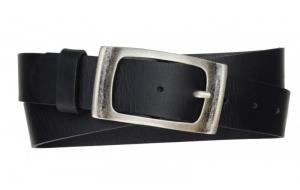 Herren Gürtel aus Büffelleder schwarz mit geschlossener Schnalle