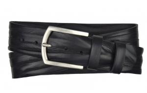 Breiter Herren Gürtel 45 mm aus Leder schwarz mit Dornschnalle