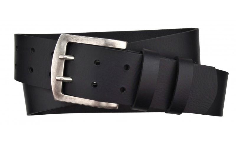 Herren Gürtel 50 mm breit aus Büffelleder schwarz doppeldorn