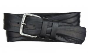 Herren Gürtel 50 mm aus Leder schwarz mit Dornschnalle