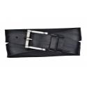 Herren Gürtel aus Leder schwarz mit Rollschnalle
