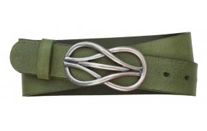 Jeansgürtel aus Leder grün mit Schnalle Knoten