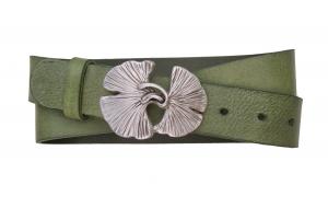 Jeansgürtel aus Leder grün mit Schnalle Ginkgo