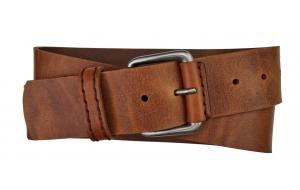 Herren Gürtel 5 cm breit aus Leder braun / Jagdgürtel
