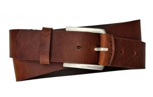 Herren Gürtel 45 mm breit aus Leder braun handgenäht