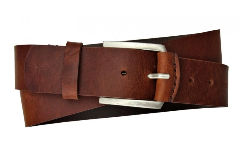 Herren Gürtel 45 mm / 4,5 cm breit aus Leder braun handgenäht