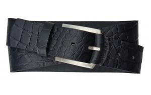 Herren Gürtel 45 mm breit aus Leder in Krokodil Optik schwarz