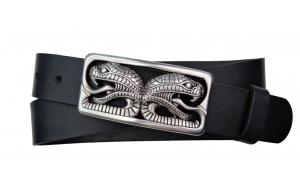 Herren Gürtel aus Büffelleder schwarz mit Schnalle Schlangen