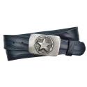 Jeansgürtel aus Leder dunkelblau mit Schnalle Stern 2