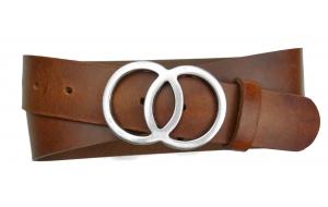 Jeansgürtel aus Leder hellbraun mit Schnalle Umju Belt