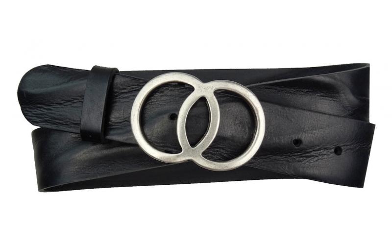 Jeansgürtel aus Leder schwarz mit Schnalle 2 Ringe Umju Belt