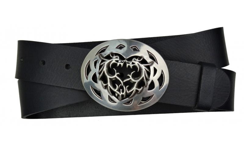 Herren Gürtel aus Büffelleder schwarz mit Schnalle Drachen