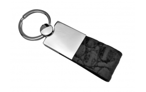 Schlüsselanhänger mit Leder in Krokodil Optik schwarz