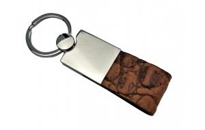 Schlüsselanhänger mit Leder Kroko braun