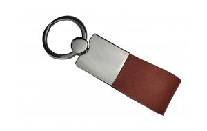 Schlüsselanhänger mit Leder cognac braun