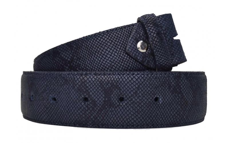 Wechselgürtel / Gürtel ohne Schnalle mit Schlangenmuster blau