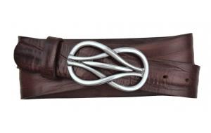 Damen Gürtel aus Leder braun mit Schnalle Knoten