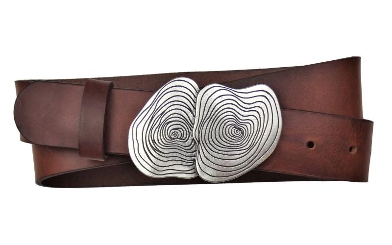 Jeansgürtel aus Leder braun mit Schnalle Umju Belt Crater