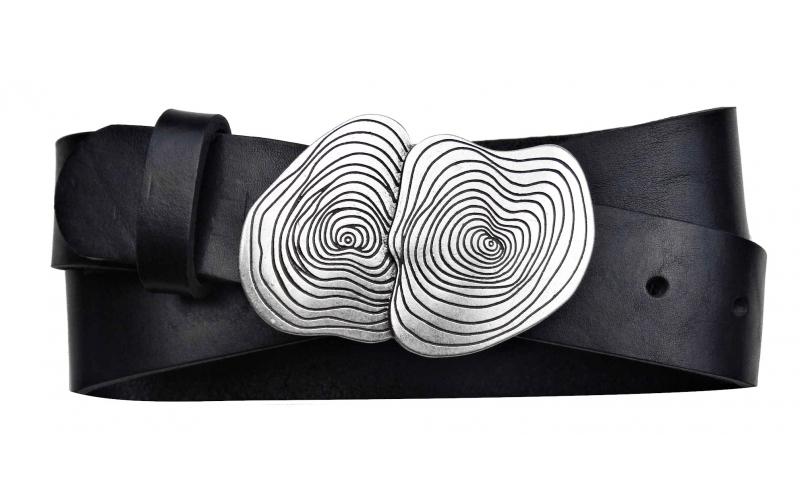 Damen Gürtel aus Leder schwarz mit Schnalle Crater