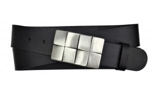 Herren Gürtel aus Büffelleder schwarz mit Schnalle Karo