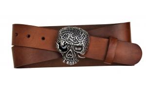 Herren Gürtel aus Leder braun mit Schnalle Totenkopf