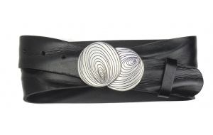 Damen Gürtel aus Leder schwarz mit Schnalle Storm