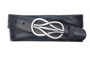 Jeansgürtel aus Leder dunkelblau mit Schnalle Knoten