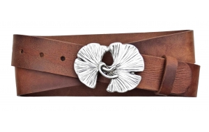 Damen Gürtel aus Leder Braun mit Ginkgo Schnalle