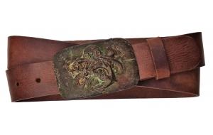 Herren Gürtel aus Leder braun mit Schnalle Krake